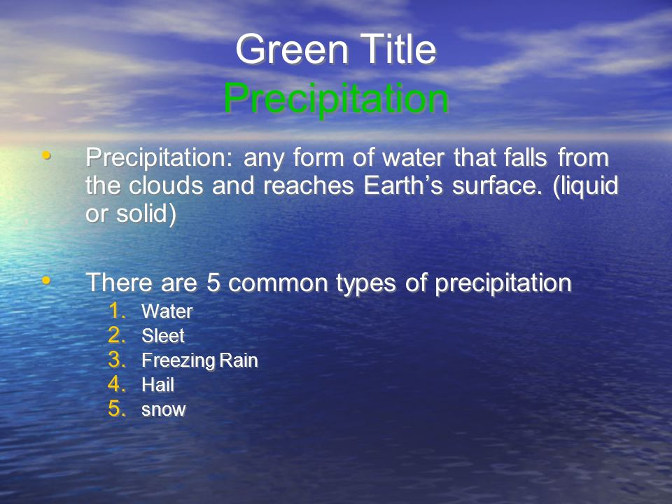Green Title Precipitation