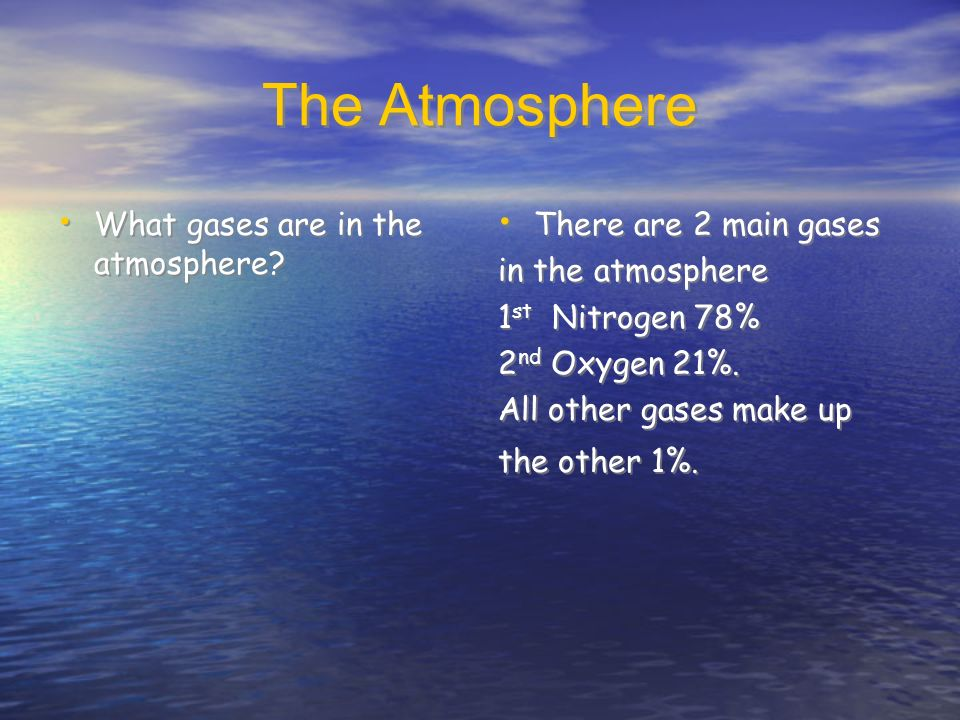 The Atmosphere What gases are in the atmosphere