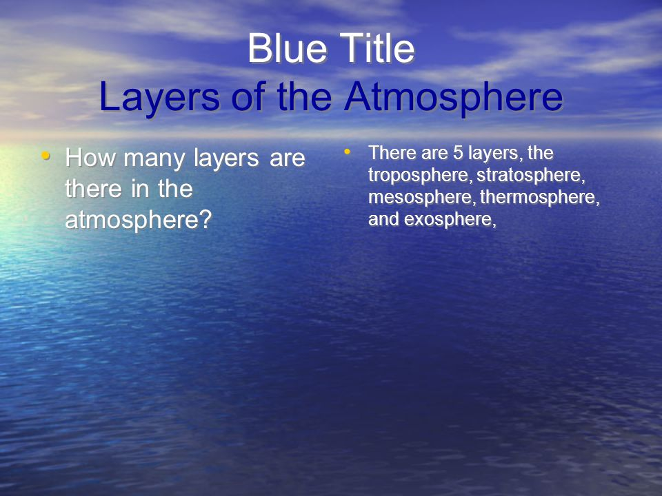 Blue Title Layers of the Atmosphere