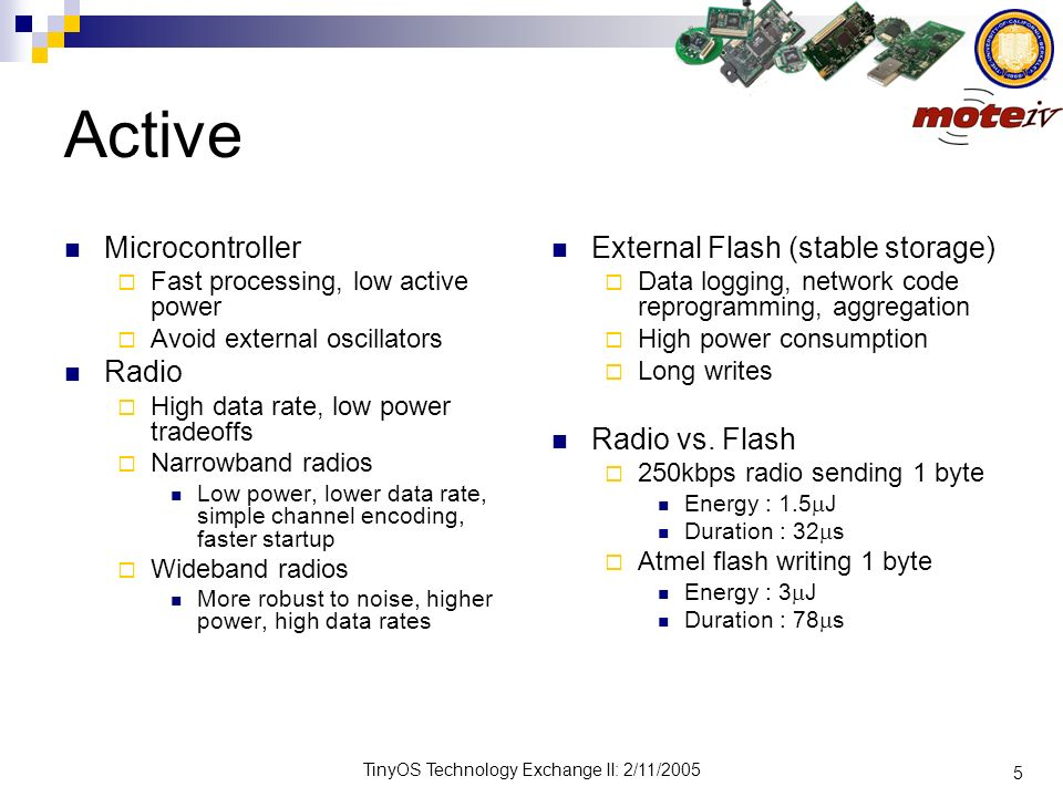 Active Microcontroller Radio External Flash (stable storage)