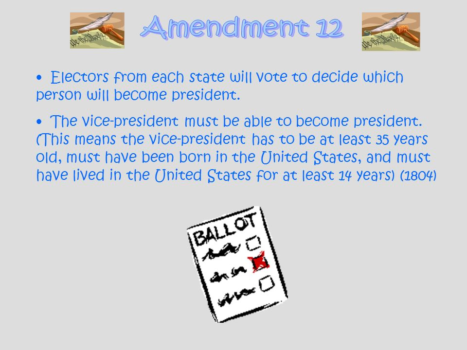 Amendment 12 Electors from each state will vote to decide which person will become president.