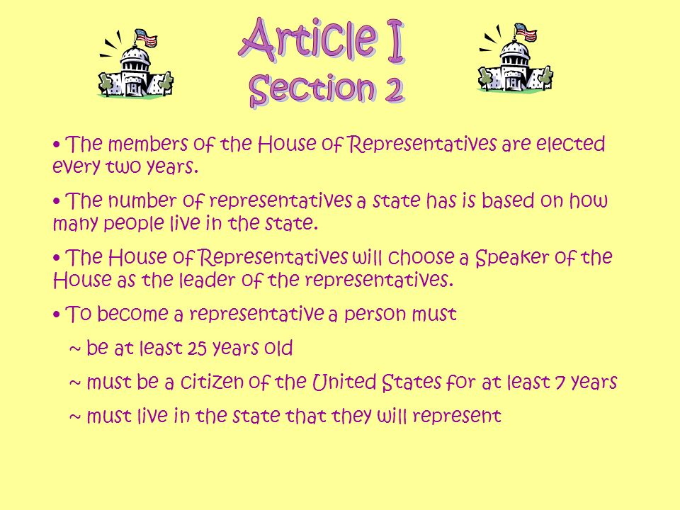 Article I Section 2. The members of the House of Representatives are elected every two years.