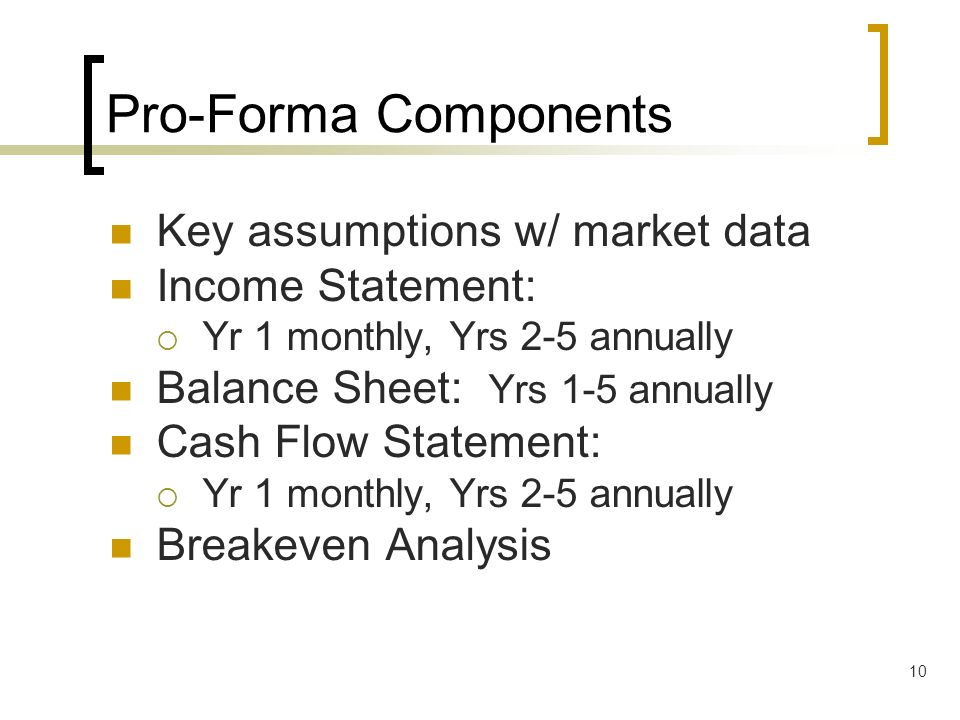 Pro-Forma Components Key assumptions w/ market data Income Statement: