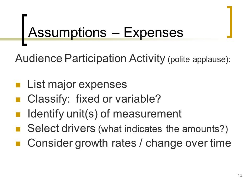 Assumptions – Expenses
