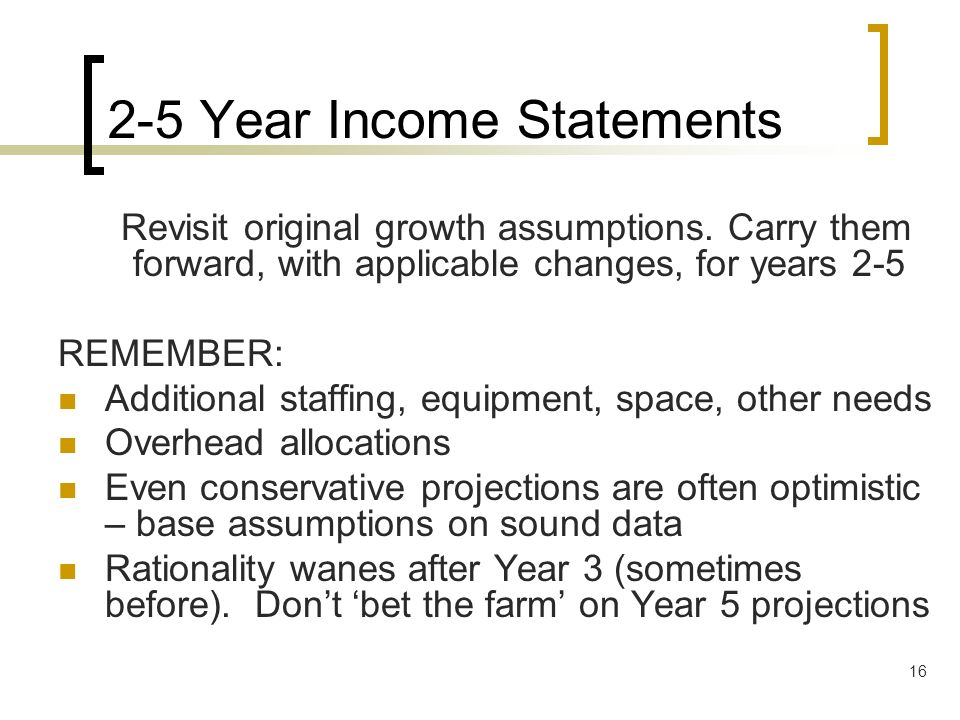 2-5 Year Income Statements