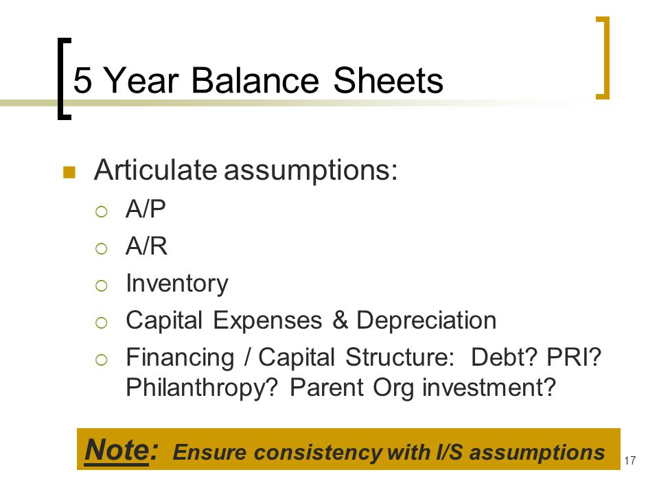 5 Year Balance Sheets Articulate assumptions: