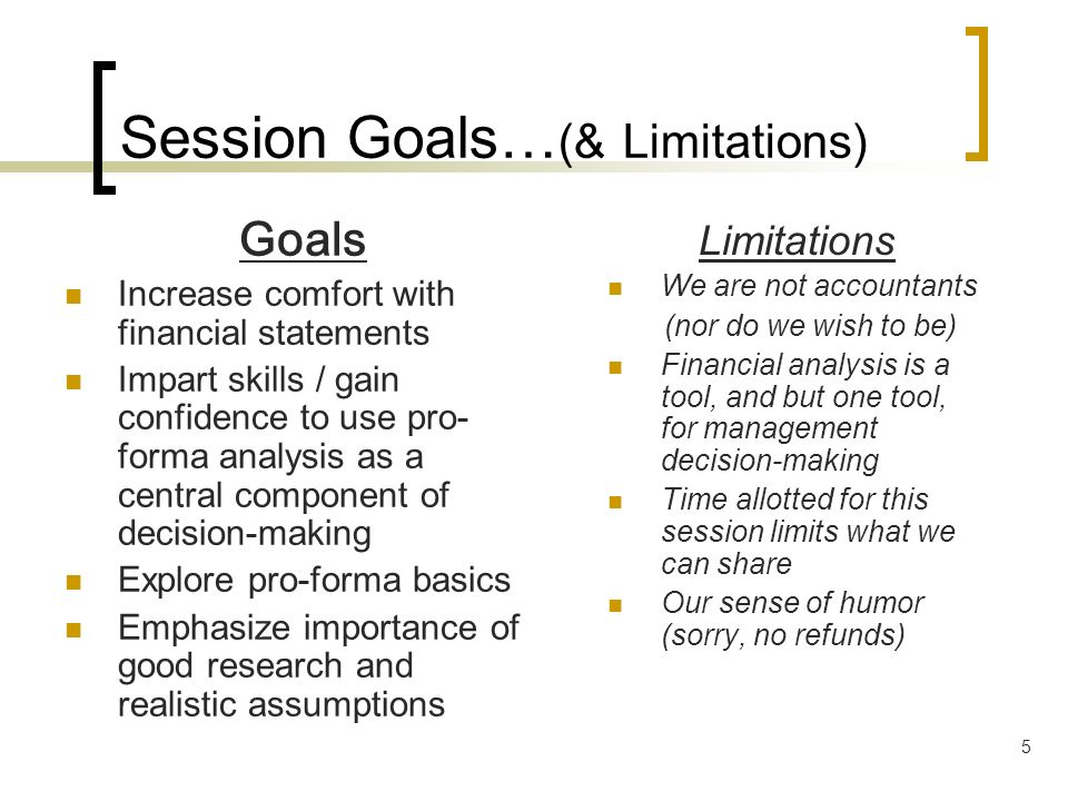 Session Goals…(& Limitations)