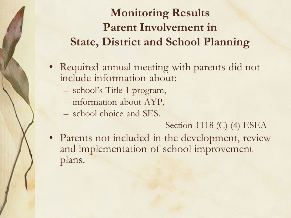 Monitoring Results Parent Involvement in State, District and School Planning