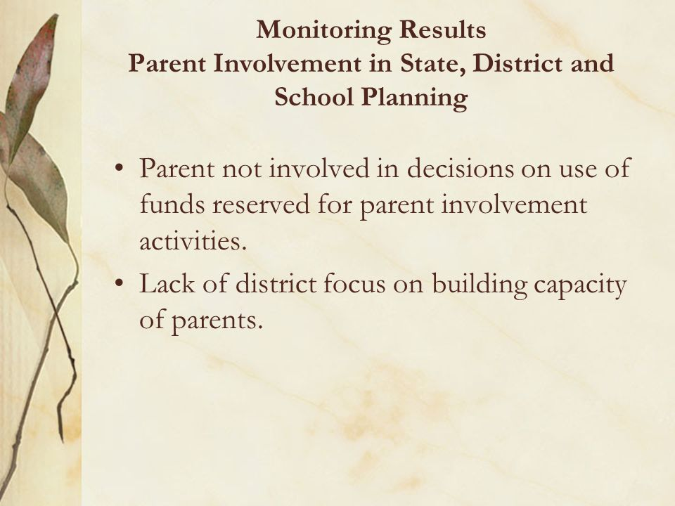 Lack of district focus on building capacity of parents.