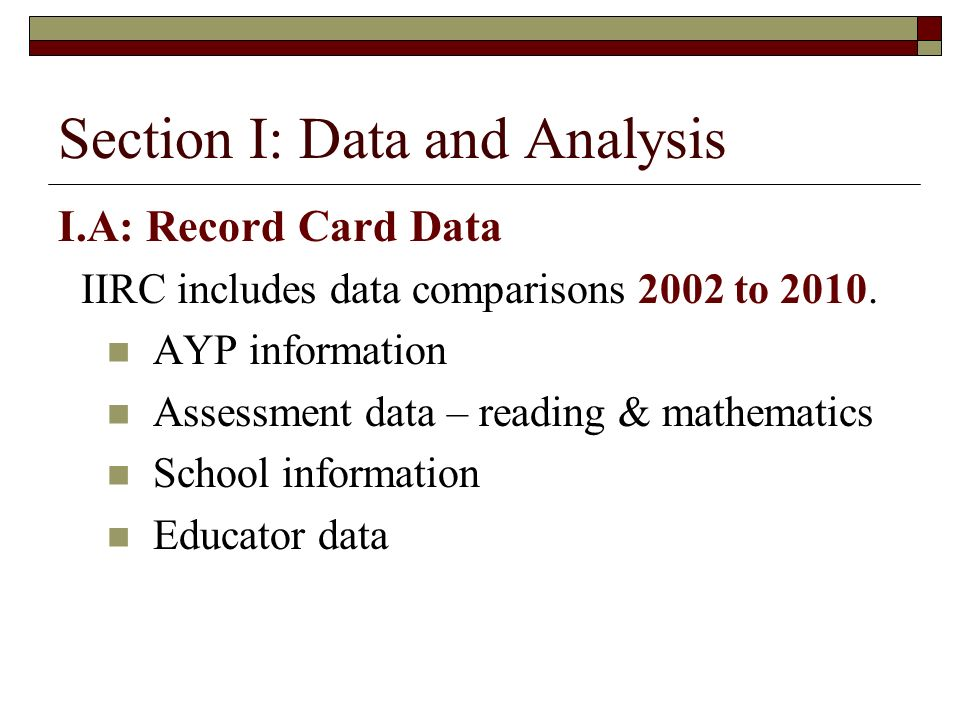Section I: Data and Analysis