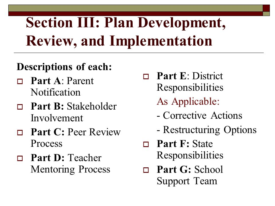 Section III: Plan Development, Review, and Implementation