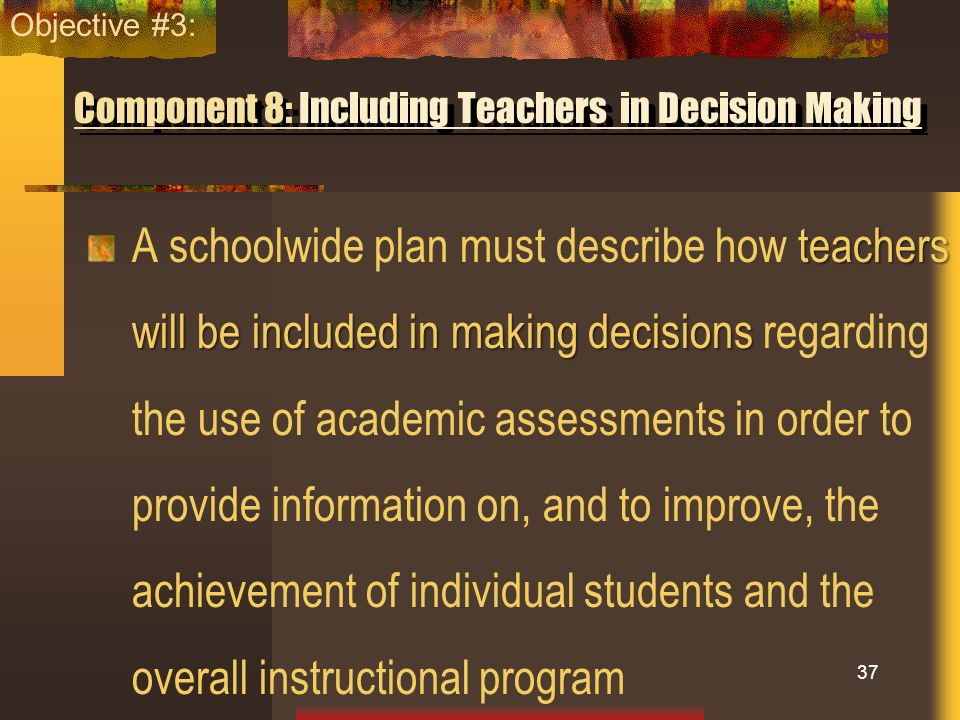 Component 8: Including Teachers in Decision Making