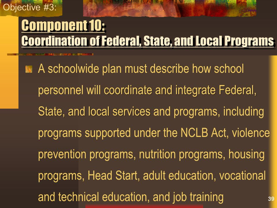 Component 10: Coordination of Federal, State, and Local Programs