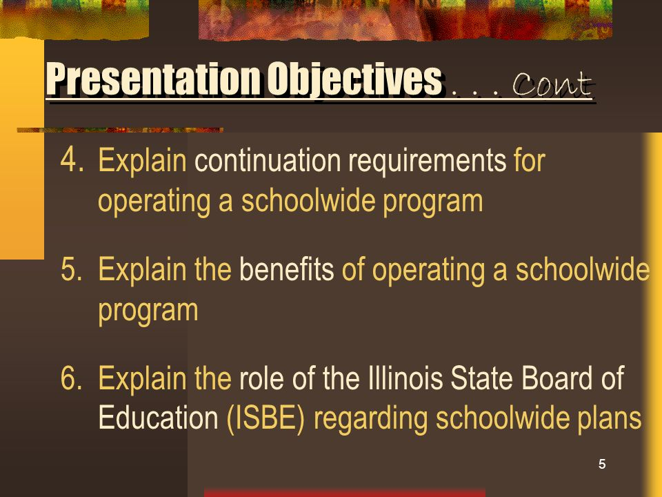 Presentation Objectives . . . Cont