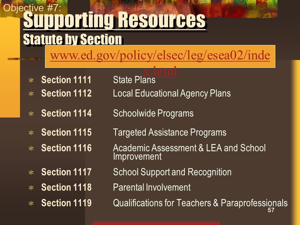 Supporting Resources Statute by Section