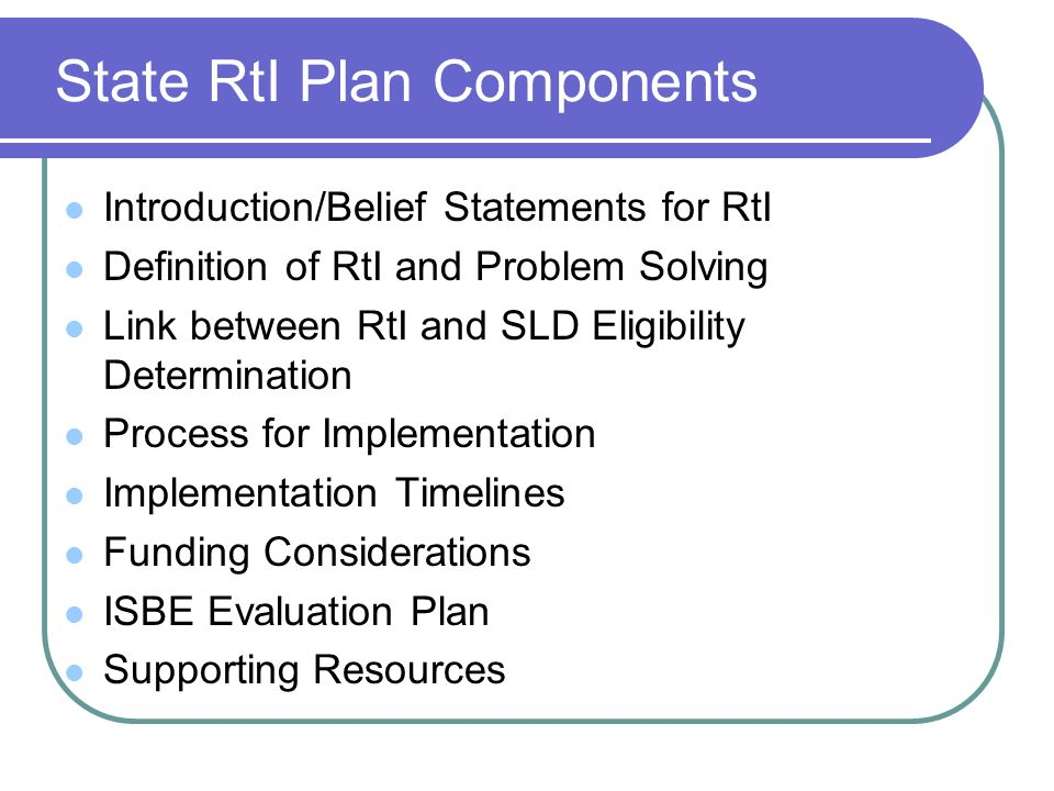 State RtI Plan Components