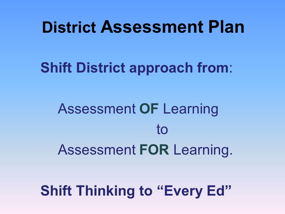 District Assessment Plan