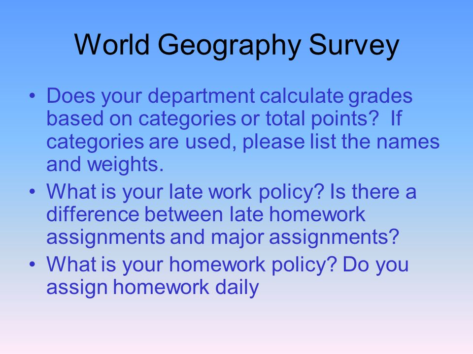 World Geography Survey