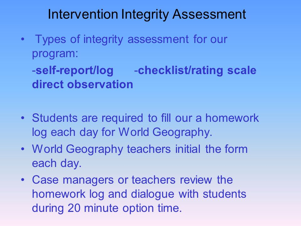 Intervention Integrity Assessment