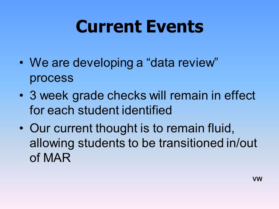 Current Events We are developing a data review process
