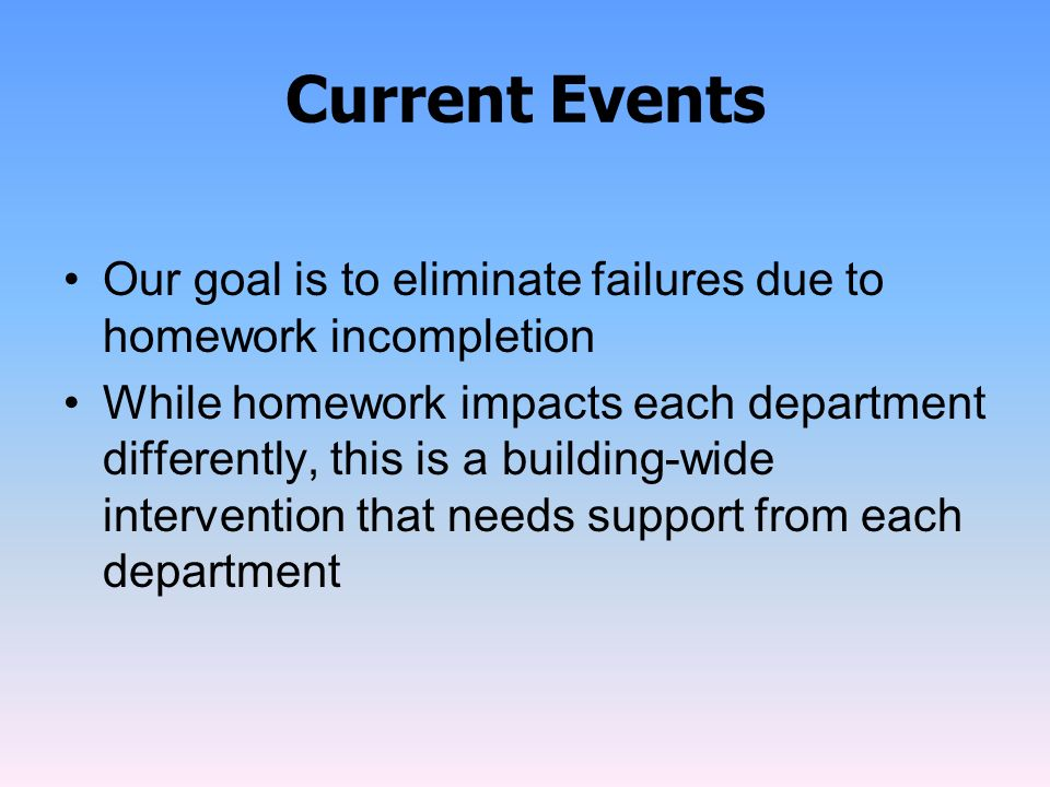 Current Events Our goal is to eliminate failures due to homework incompletion.