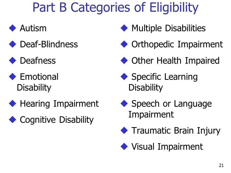 Part B Categories of Eligibility