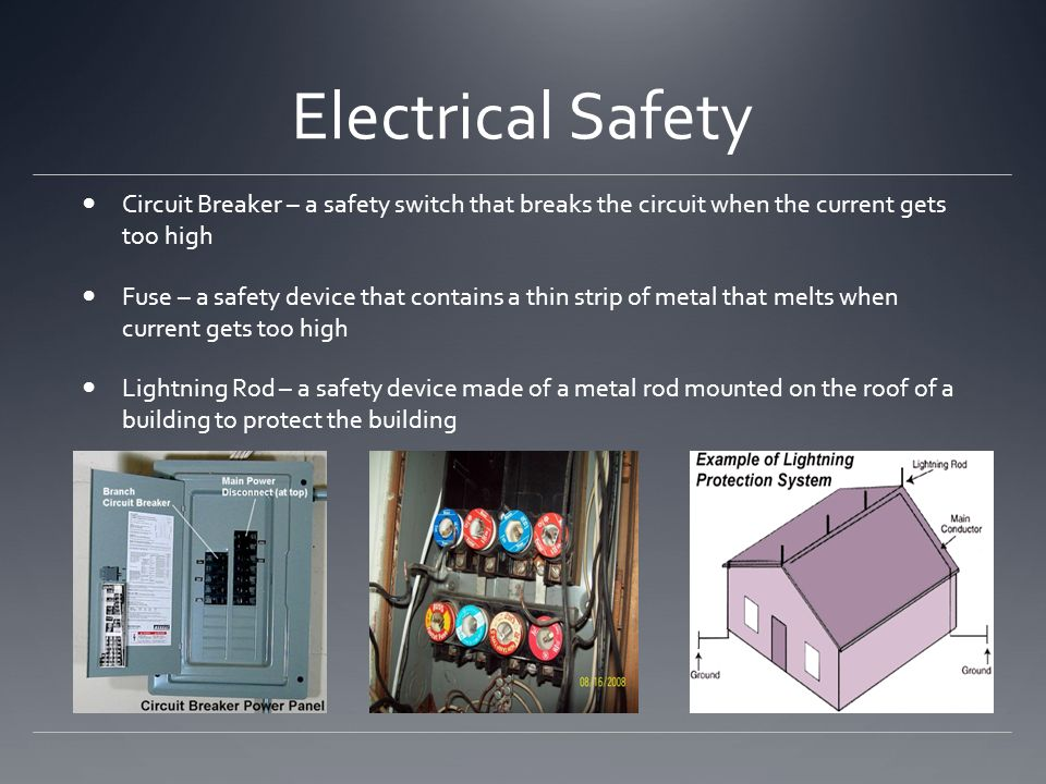 Electrical Safety Circuit Breaker – a safety switch that breaks the circuit when the current gets too high.