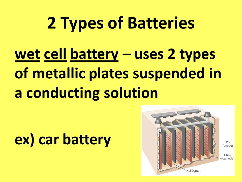 2 Types of Batteries wet cell battery – uses 2 types of metallic plates suspended in a conducting solution ex) car battery