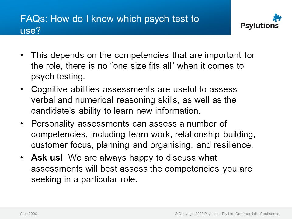 FAQs: How do I know which psych test to use