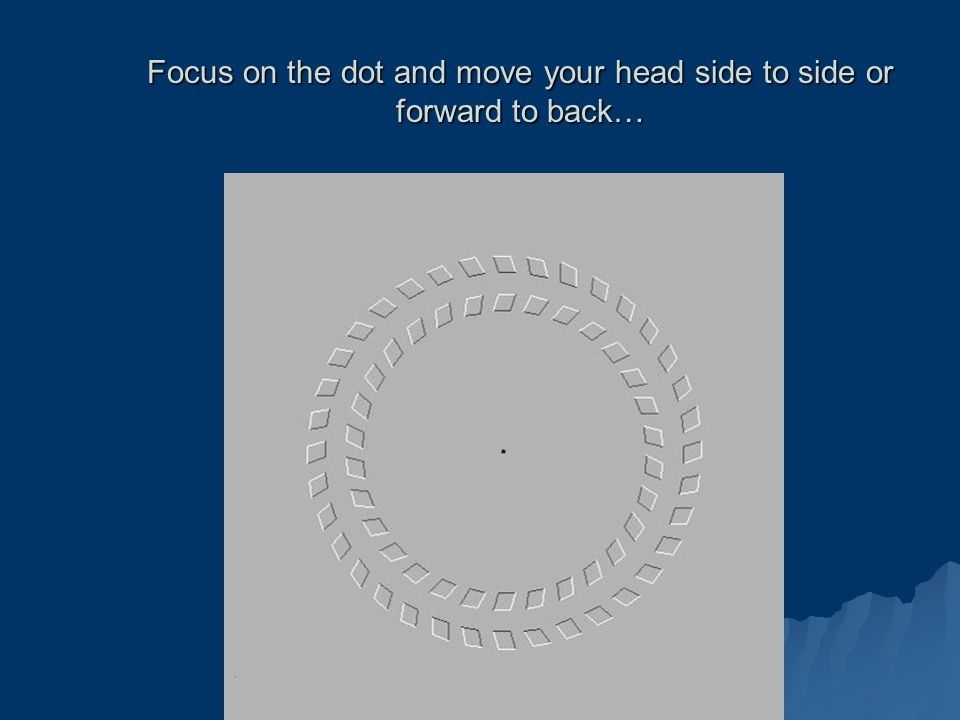 Focus on the dot and move your head side to side or forward to back…