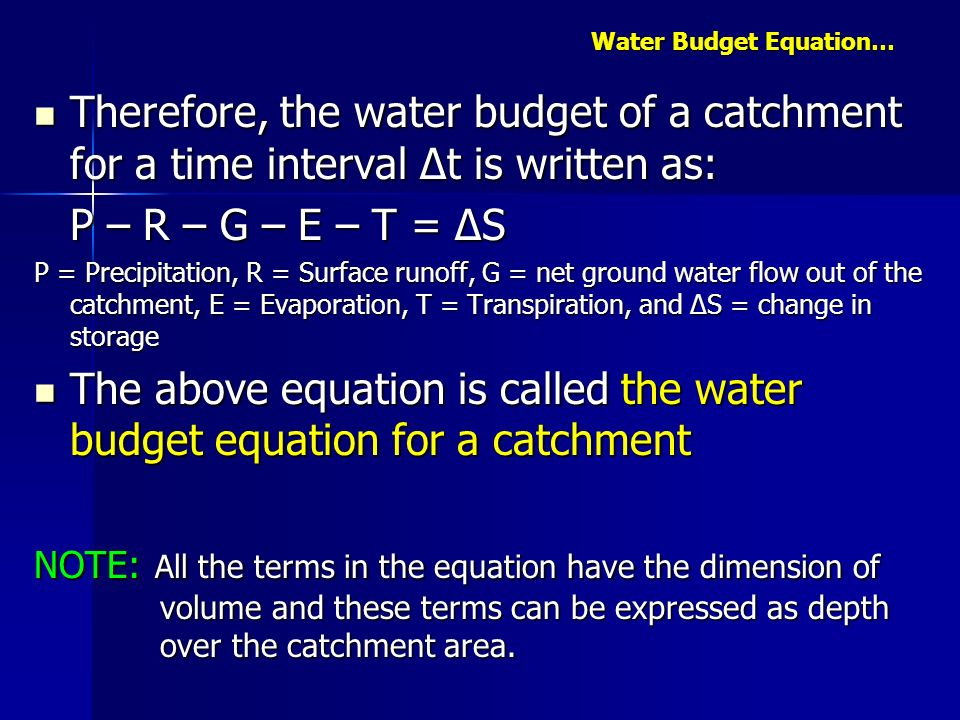 Water Budget Equation…