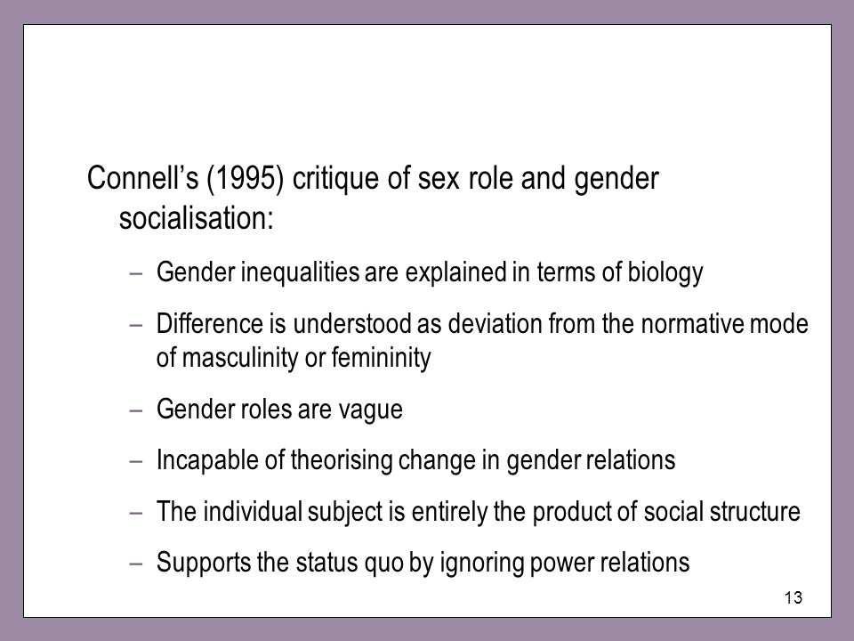 Connell's (1995) critique of sex role and gender socialisation: