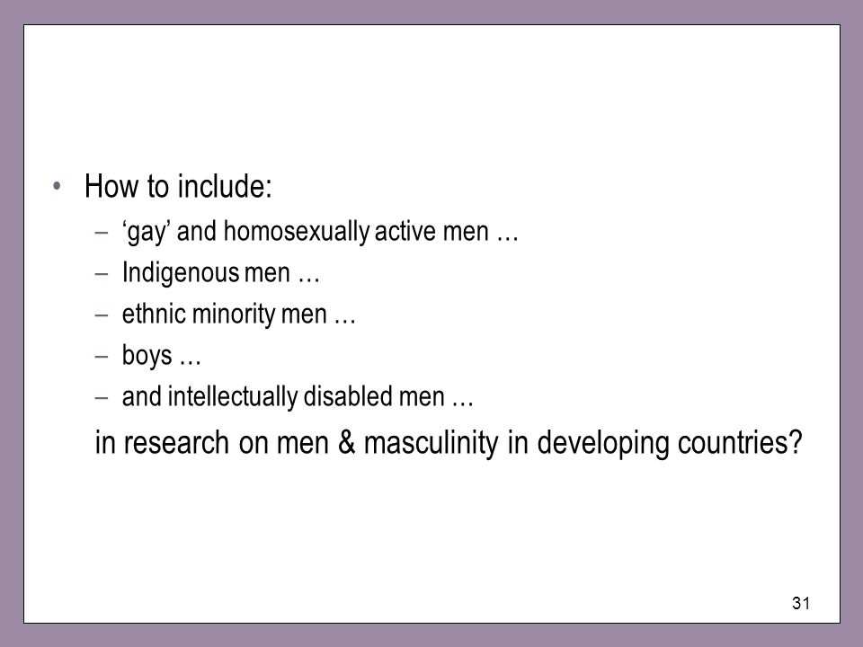 in research on men & masculinity in developing countries