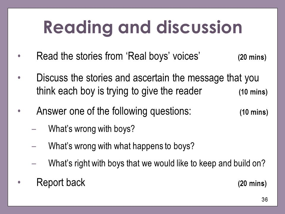 Reading and discussion