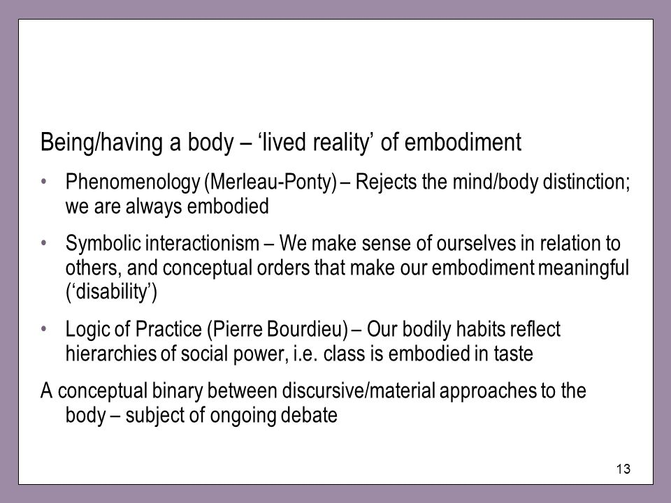 Being/having a body – 'lived reality' of embodiment