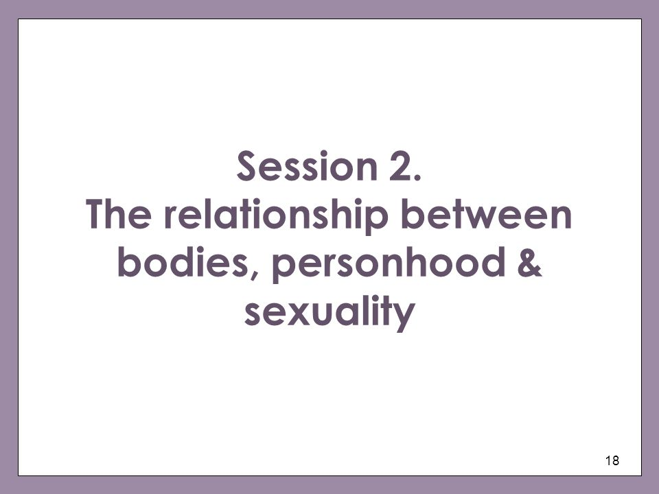 Session 2. The relationship between bodies, personhood & sexuality