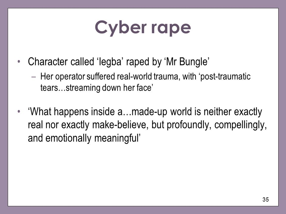 Cyber rape Character called 'Iegba' raped by 'Mr Bungle'