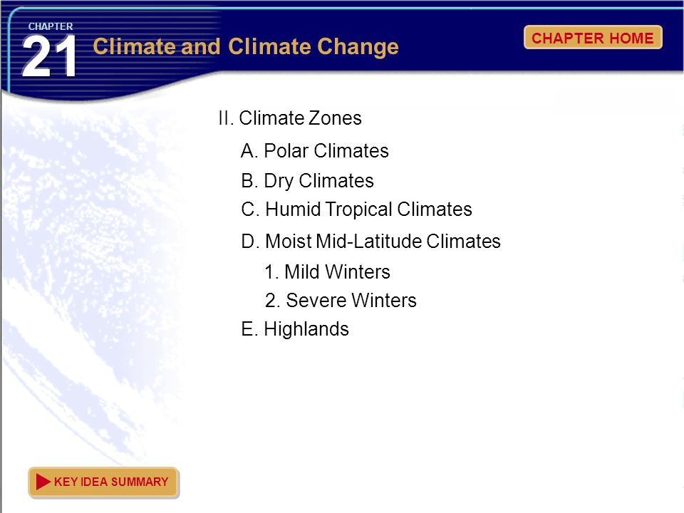 21 Climate and Climate Change II. Climate Zones A. Polar Climates
