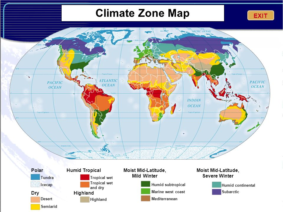Climate Zone Map EXIT Polar Dry Humid Tropical Highland