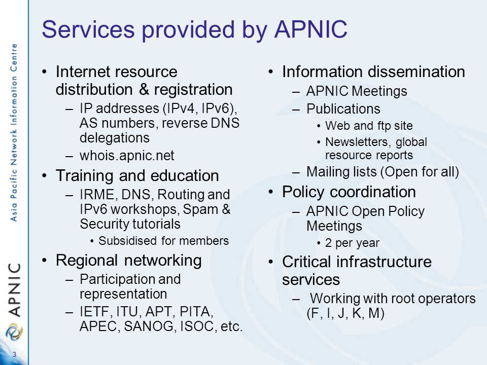 Services provided by APNIC