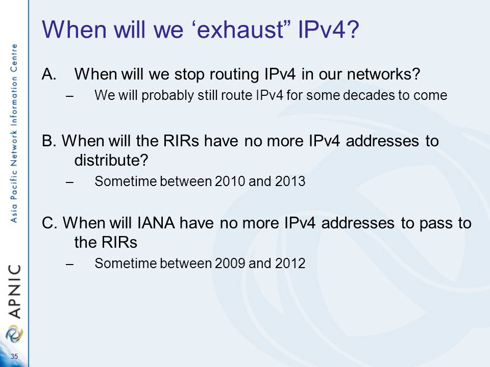 When will we 'exhaust IPv4