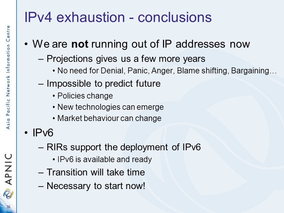 IPv4 exhaustion - conclusions