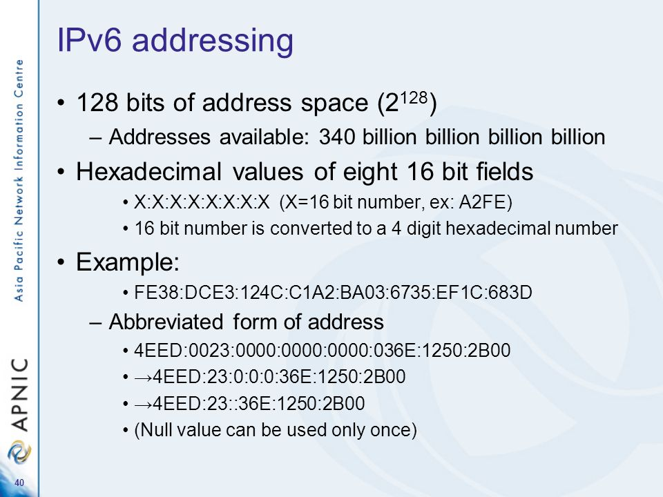 IPv6 addressing 128 bits of address space (2128)