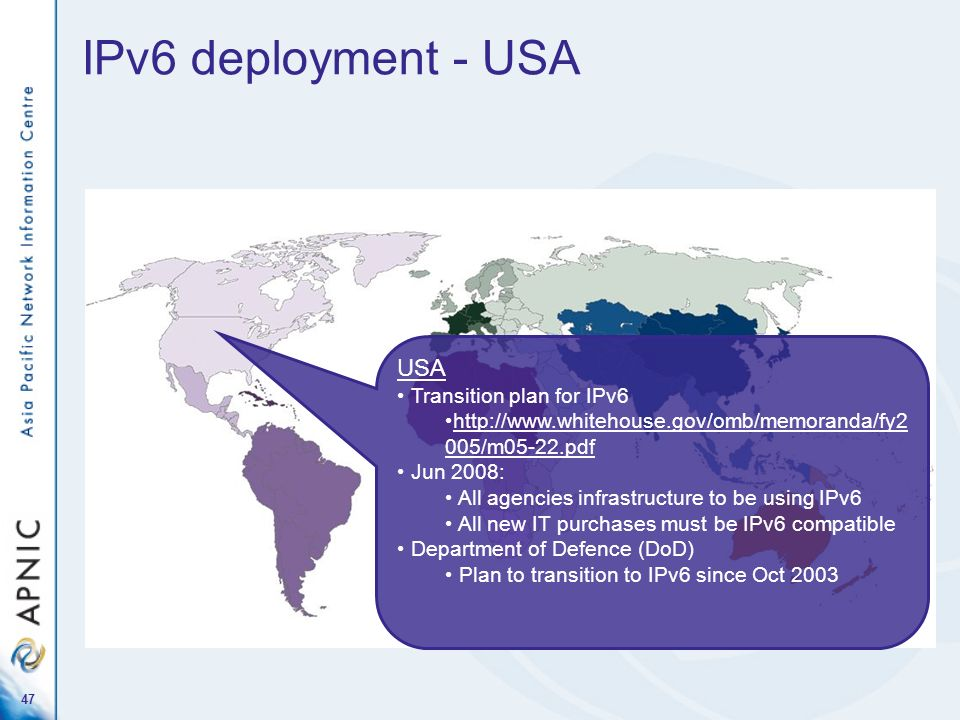 IPv6 deployment - USA USA Transition plan for IPv6