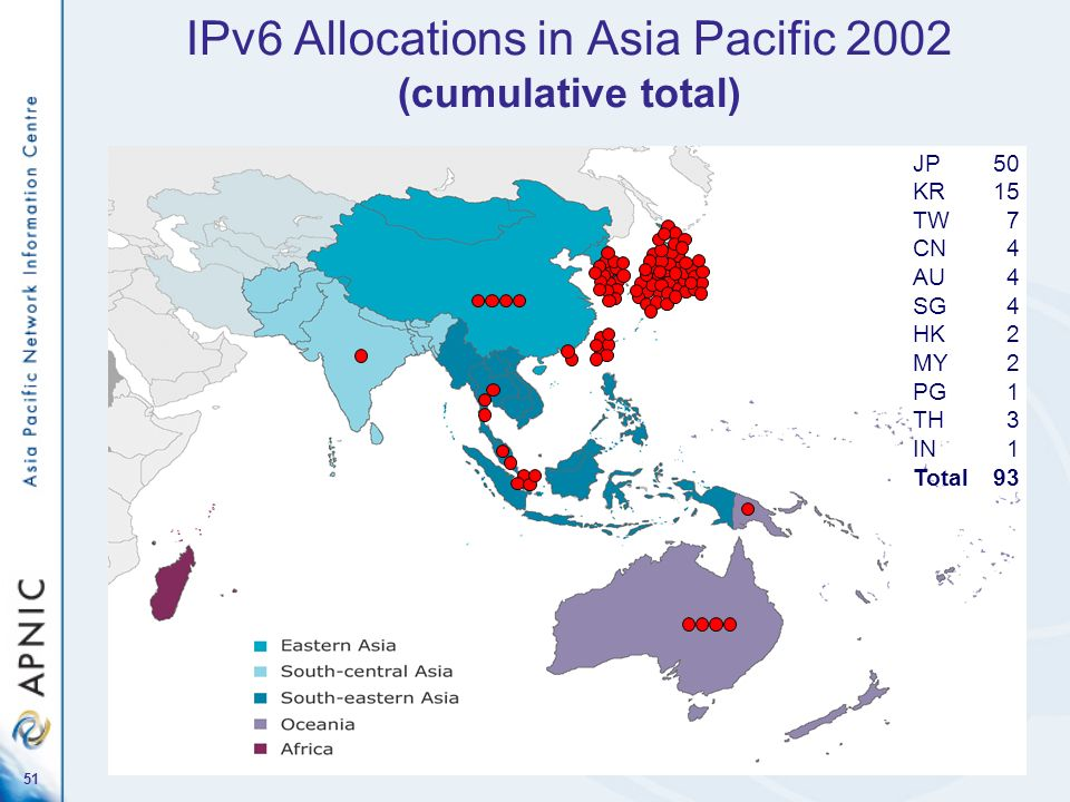 IPv6 Allocations in Asia Pacific 2002 (cumulative total)
