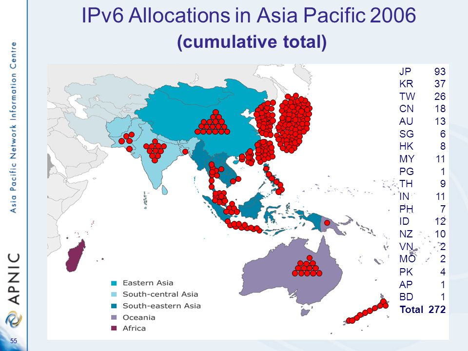 IPv6 Allocations in Asia Pacific 2006 (cumulative total)