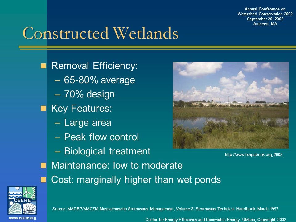 Constructed Wetlands Removal Efficiency: 65-80% average 70% design