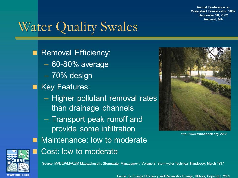 Water Quality Swales Removal Efficiency: 60-80% average 70% design