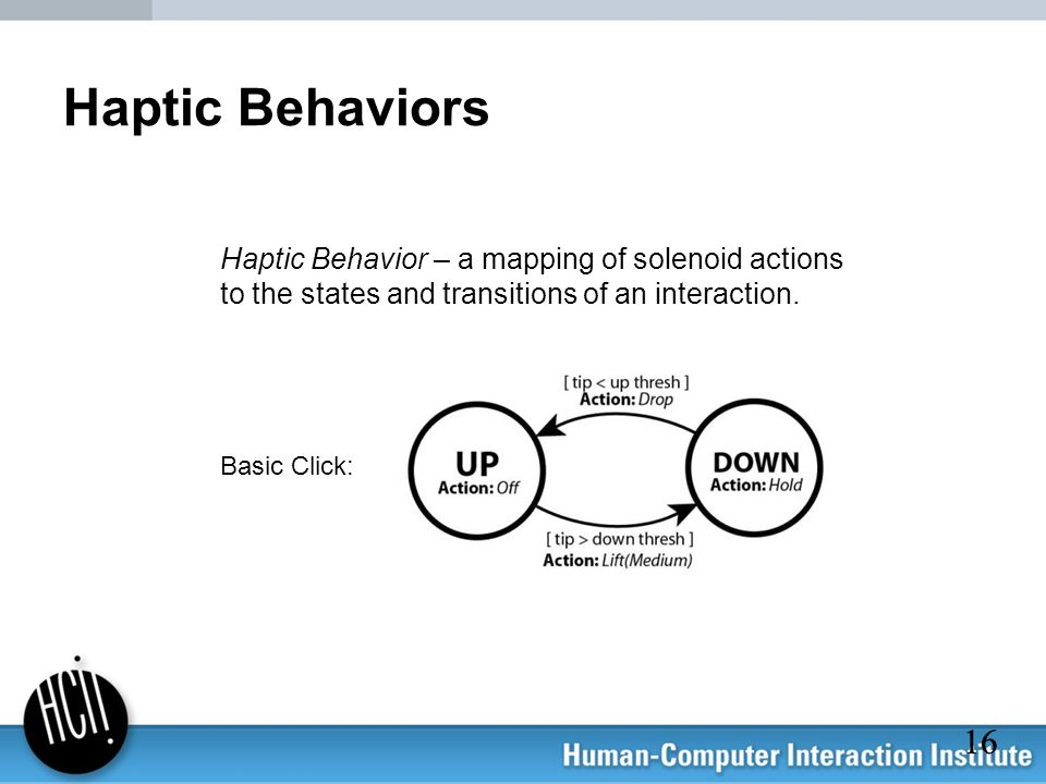 Haptic Behaviors Haptic Behavior – a mapping of solenoid actions to the states and transitions of an interaction.