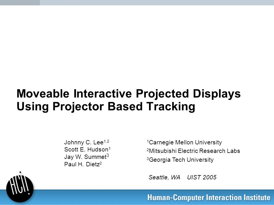 Moveable Interactive Projected Displays Using Projector Based Tracking